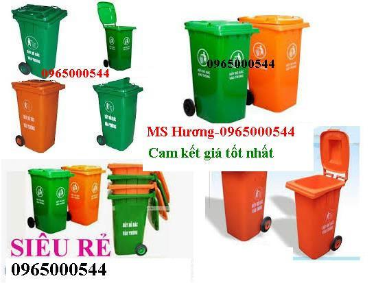 thùng rác công cộng màu cam-xanh, thung rác hdpe, composite (95l-240l), xe gom rác