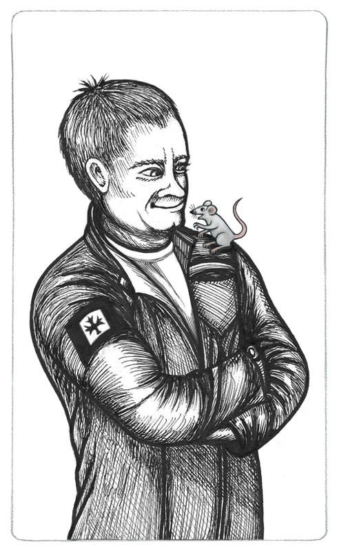 Inked drawing of Rodney McKay with Tykallita a small grey mouse sitting on his left shoulder. Rodney's in the dark grey SGA uniform with a Canadian patch.