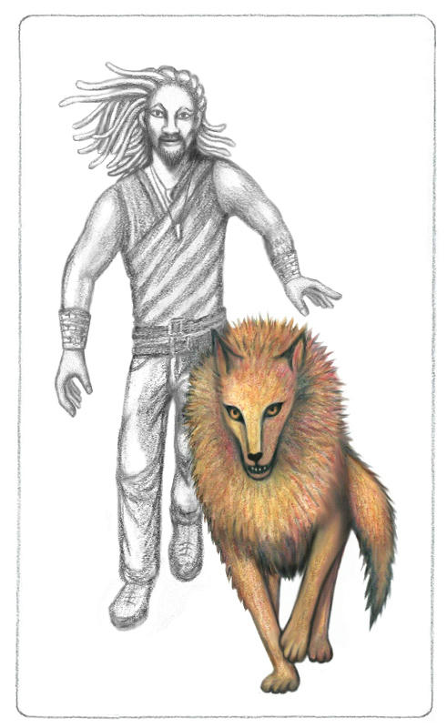 Pencil drawing of Ronon Dex running towards the viewer. Imara, a huge red-orange wolf with a big mane, is running ahead of him.