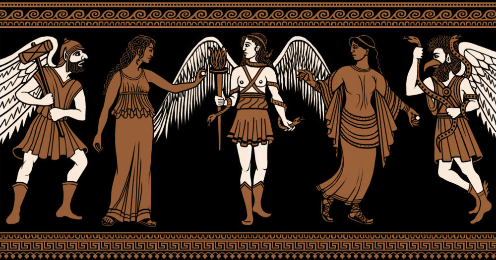 In the style of Etruscan or Greek vase painting - terracotta-red figures on black background, with the gods having cream-coloured skin and wings. Karun has a leather hat shaped like a soft pith helmet, his traditional wooden mallet and a short chiton. Velia is in a long chiton, with long unbound hair. Vanth is in a short huntress's chiton, rolled at the top, leather boots, and is bare-breated with straps crossing her chest. She has snakes coiled around her arms and in her hair. Thana is in a long tunic-dress with a shawl - she and Vela both hold a coin. Tuchulcha at far right has an eagle's beak, wild hair and beard, and snakes coiled around his arms, a short chiton and boots. All the figures are posed profile-on to the viewer. There is a decorative border at top and bottom.