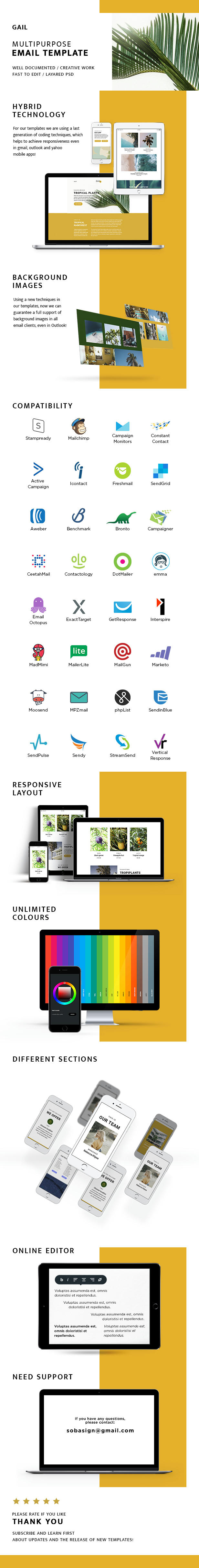 Gail – Responsive Email + StampReady Builder & Mailchimp (Email Templates)