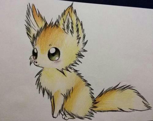 Рисунки для срисовки аниме лисичку цветными карандашами