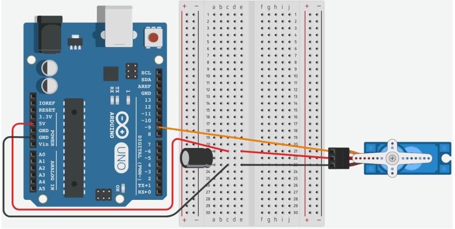 Sơ đồ kết nối arduino với động cơ servo