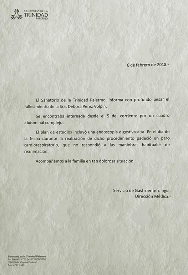 Parte médico de Débora Pérez Volpin