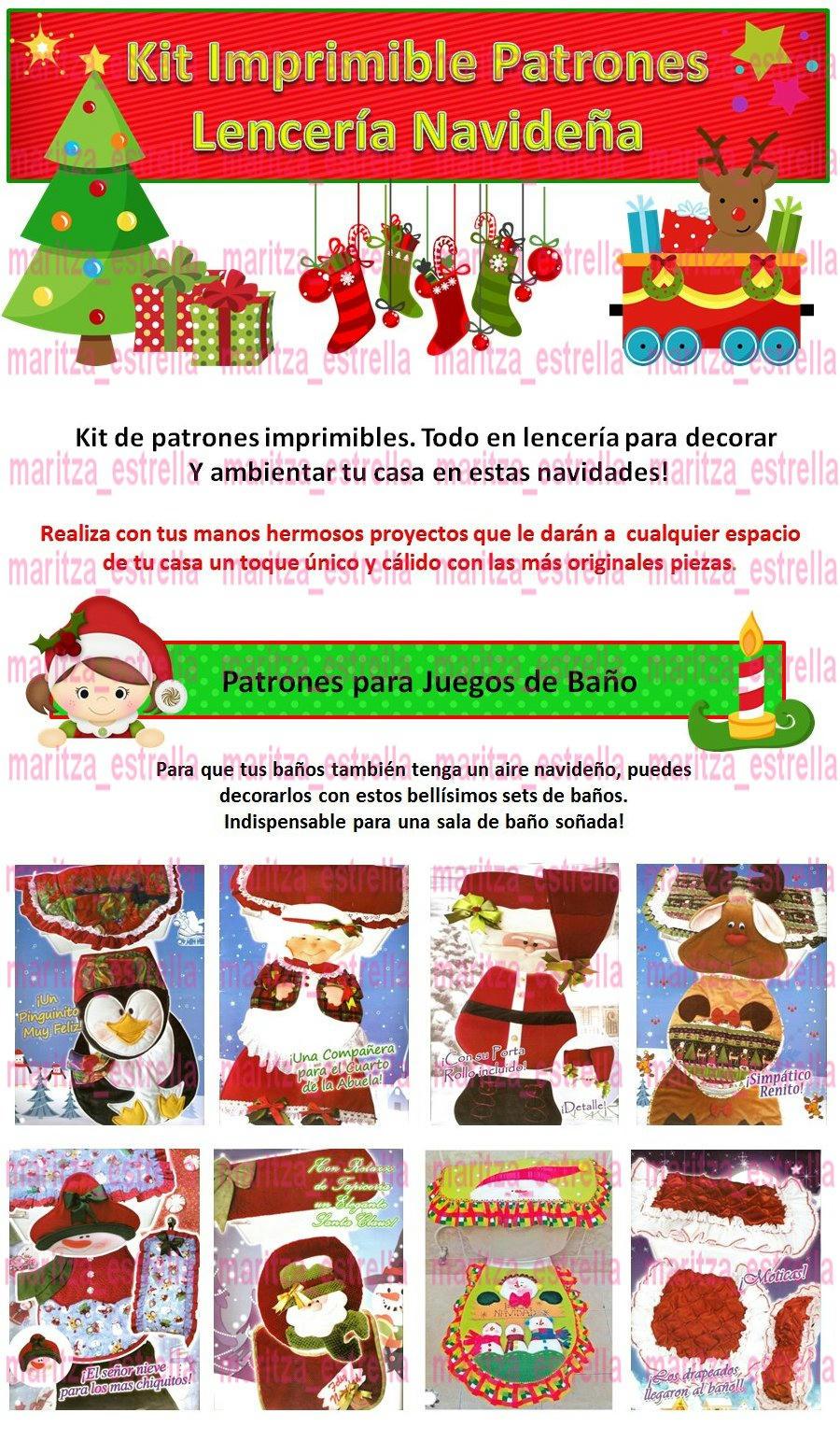 Patrones De Lenceria De Baño De Navidad:Kit Patrones Lenceria Navidad Juegos De Baños Muñecos Arbol BsF980