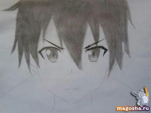 Рисунок Kirito из Мастера меча онлайн карандашом