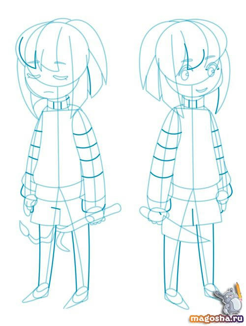 Рисунок Frisk and Chara из Undertale карандашом