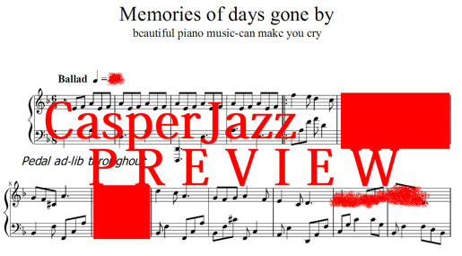Memories of days gone by sheet music piano transcription
