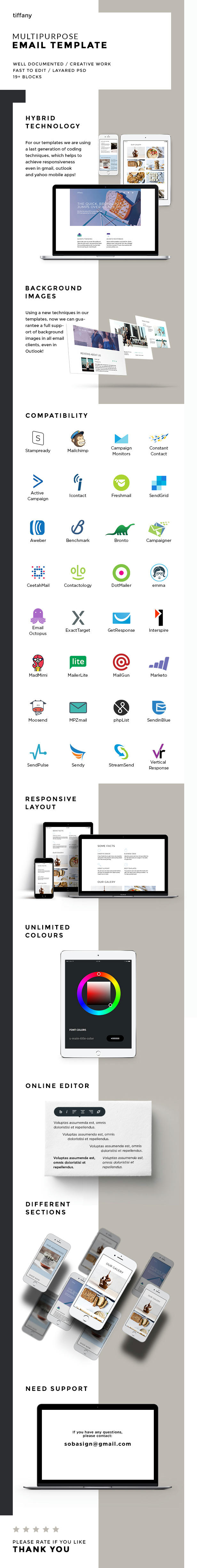 Tiffany – Responsive Multipurpose Email Template + Stampready Builder (Email Templates)