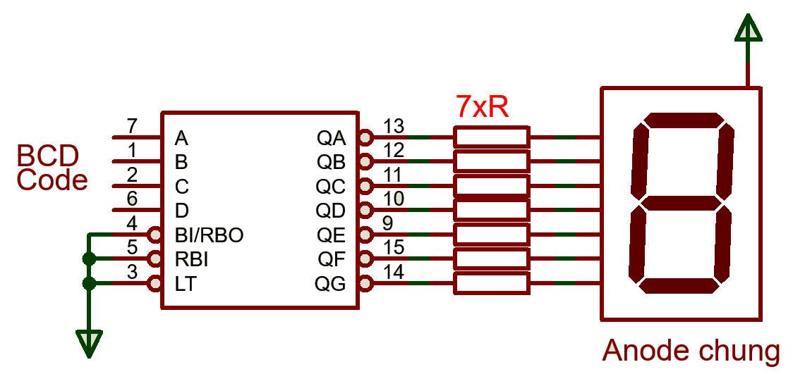 Mạch giải mã dùng IC 7447