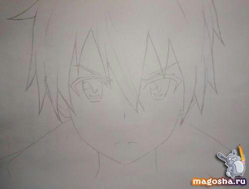 Как нарисовать Kirito из Мастера меча онлайн