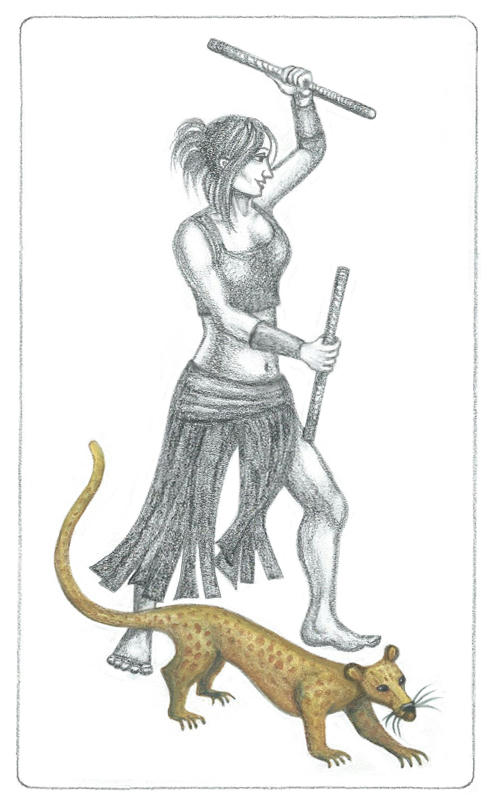 Pencil drawing of Teyla Emmagan in a lunge with two bantos sticks raised, wearing a leather skirt separated into multiple strips, and a tight sleeveless crop-top. Beside her, Keho is a gold-brown alien mongoose with darker spots and a long tail.