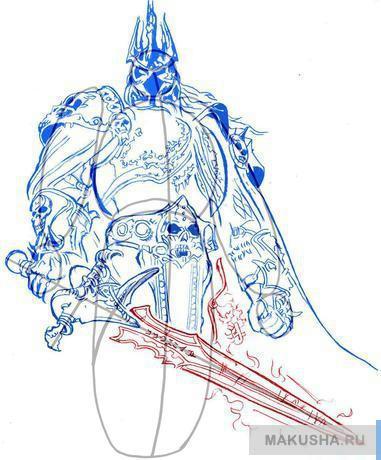 Рисовать рисунок меч по шагам