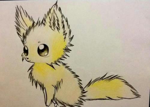 Рисунки карандашом аниме лисички цветными карандашами