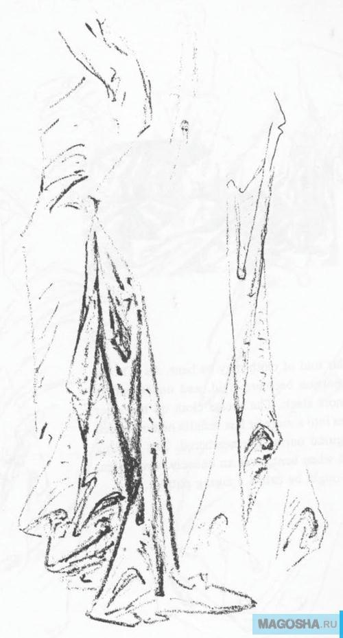 Рисунок складки одежды карандашом