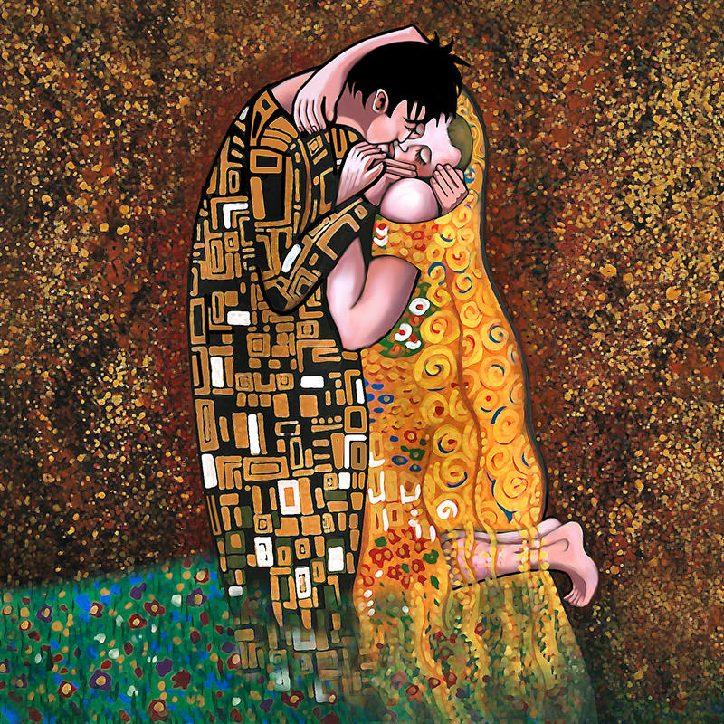 gouache version of Klimt's painting The Kiss with John as the kisser and Rodney kneeling, being kissed. Gold splatter background, gold-patterned robes, grass and flowers below them.