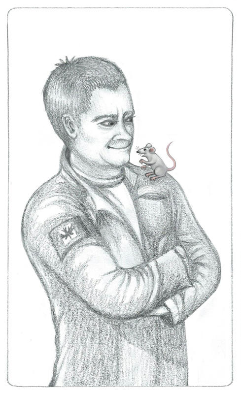 Pencil drawing of Rodney McKay with Tykallita a small grey mouse sitting on his left shoulder. Rodney's in the dark grey SGA uniform with a Canadian patch.
