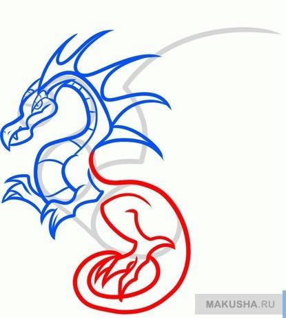 Учим рисовать дракона для детей