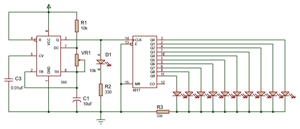 Mạch điều khiển đèn LED dùng IC 4017