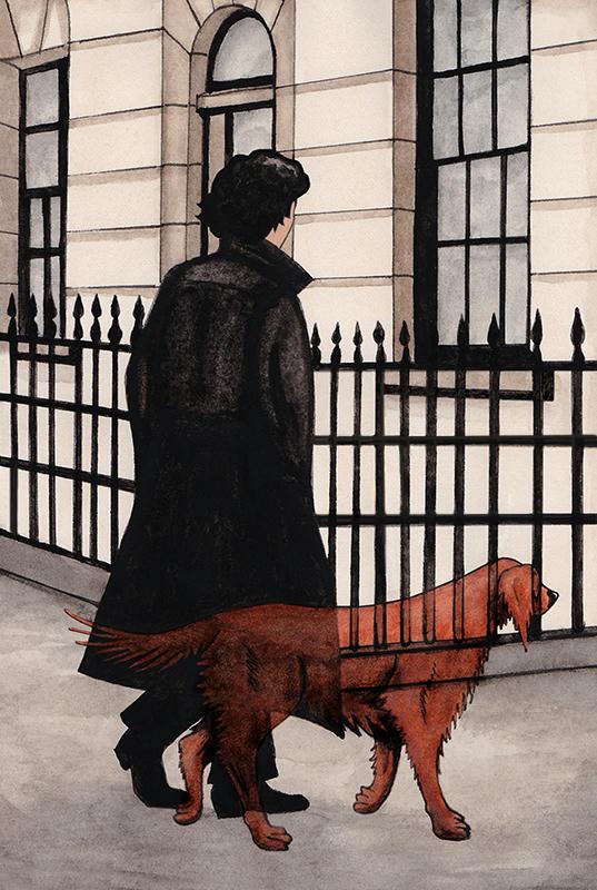 Sherlock walking on a London Street, Redbeard (a red setter) trotting beside him.