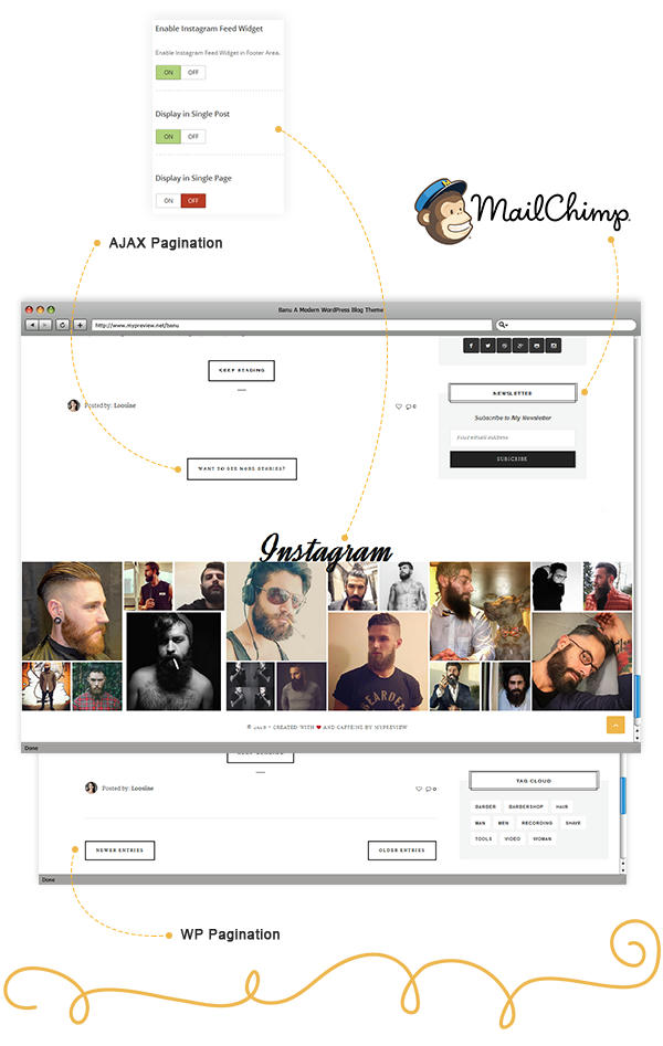 Banu WordPress Theme - Footer Instagram Feed and Mailchimp Compatible