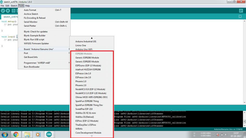 Thêm thư viện board ESP 8266 vào Arduino IDE