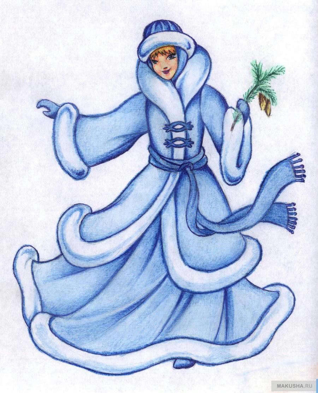 Снегурочка нарисованная в карандаше