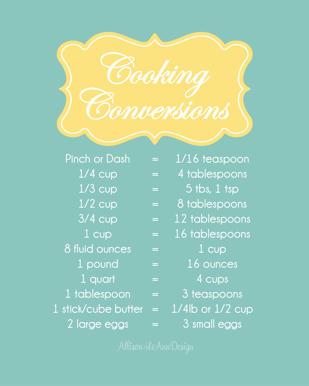 Allison LeAnn Design Cooking Conversions Printable