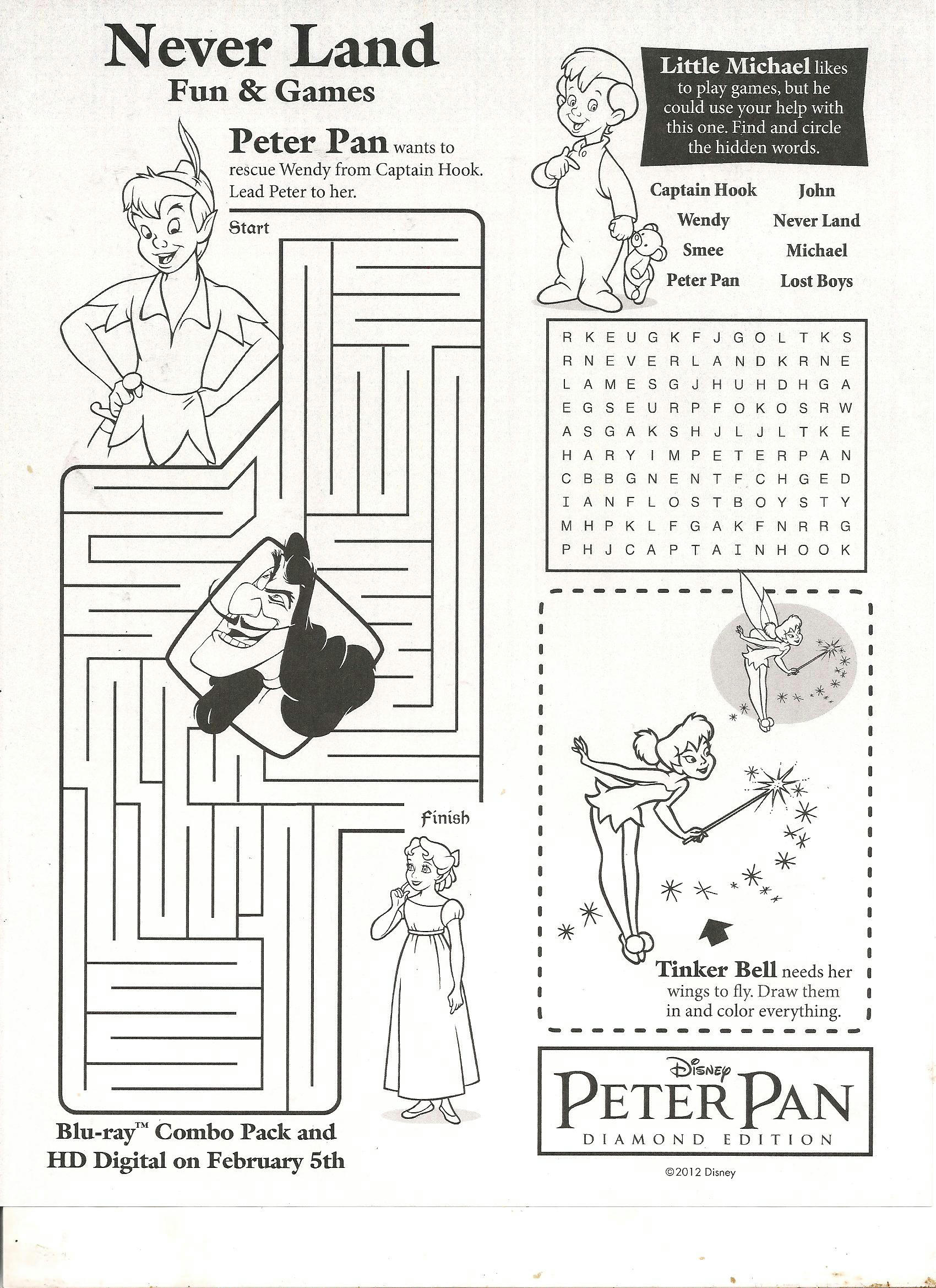 Disney Printable Activity Pages … | Pinteres…