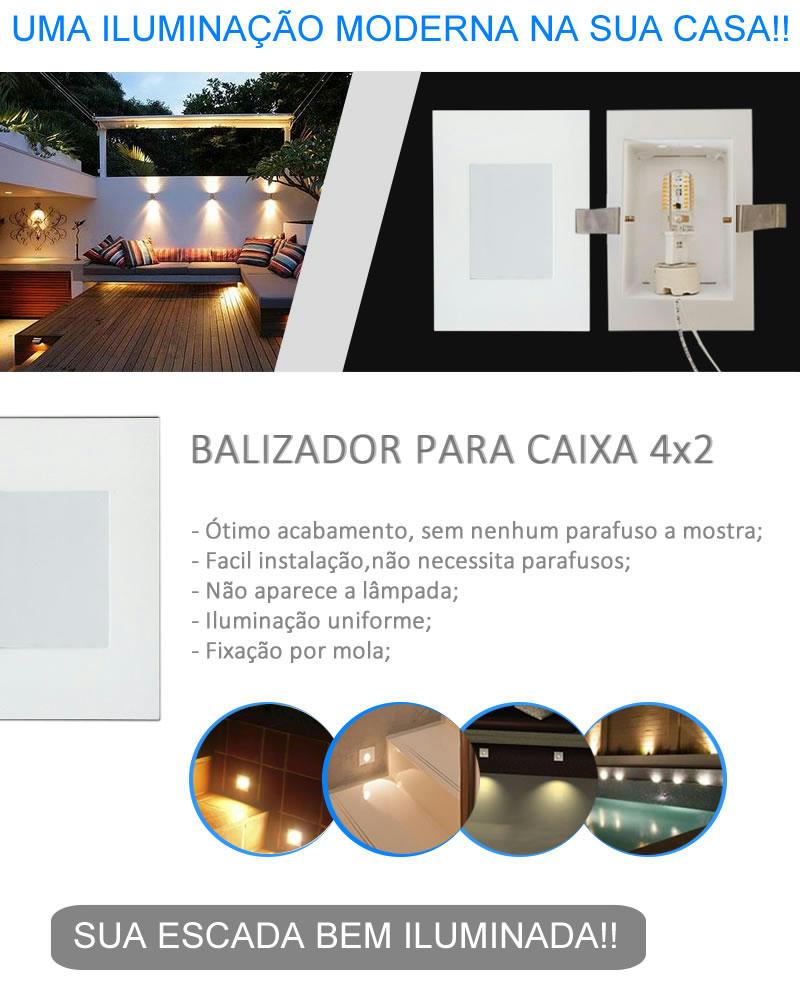 Balizador Parede Embutir Para Caixa Led 4x2 Escada Luminária em São Paulo