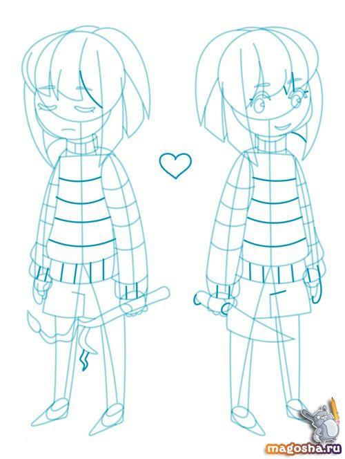 Рисунки карандашом Frisk and Chara из Undertale