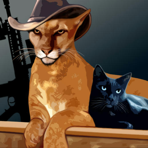 Cougar as a cougar and Jensen as a black housecat, on a roof, rifle in background
