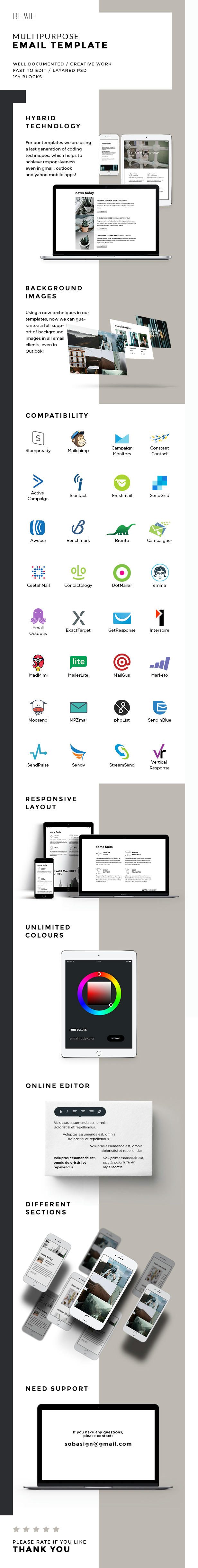 Bessie – Responsive Multipurpose Email Template + Stampready Builder (Email Templates)