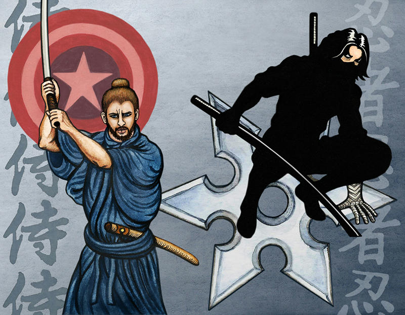 Steve on left in Samurai robe with topknot and katana, behind him the shield tinted red. Bucky on right in ninja black with 2 katanas, a big shuriken behind him.