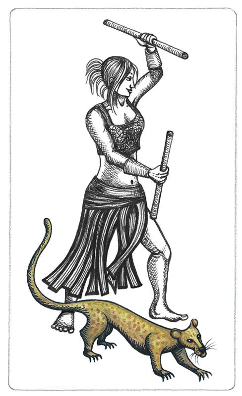Inked drawing of Teyla Emmagan in a lunge with two bantos sticks raised, wearing a leather skirt separated into multiple strips, and a tight sleeveless crop-top. Beside her, Keho is a gold-brown alien mongoose with darker spots and a long tail.
