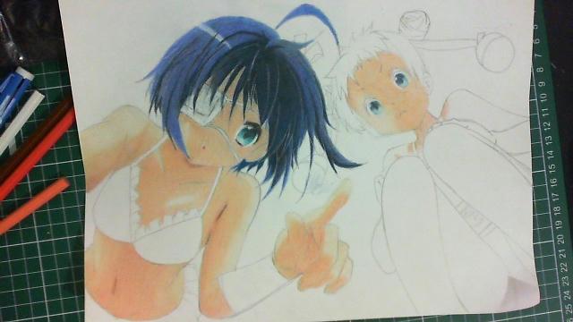 Dibujo - Rikka Takanashi y Sanae Dekomori