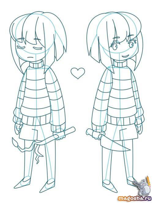 Рисунки для срисовки Frisk and Chara из Undertale