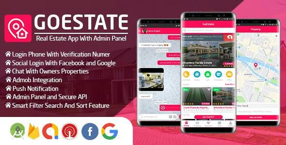 دانلود سورس GoEstate Real Estate App + Admin Panel