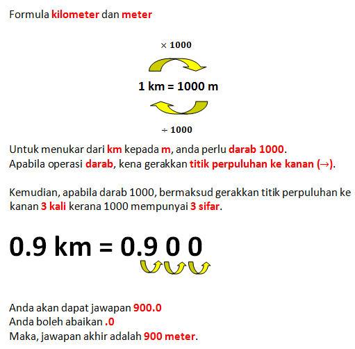 Operasi kilometer kepada meter