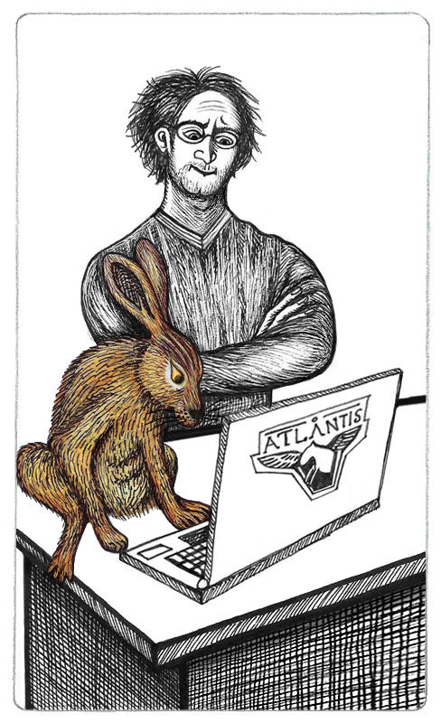 Inked drawing of Radek Zelenka with Geesa, a brown, furry European hare. They're looking at a laptop on a desk, Geesa closer and Radek behind as she checks his code.