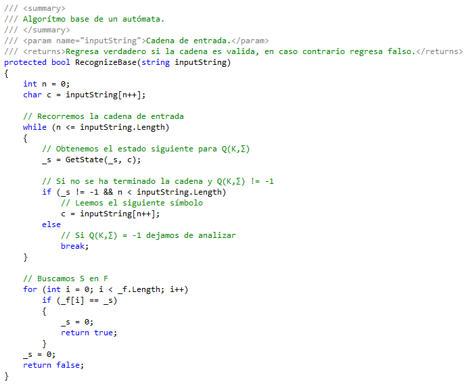 Algoritmo de un Autómata