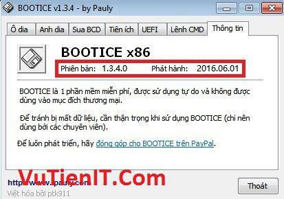 BootIce 1.3.4 Công cụ tạo và chỉnh sửa Menu Boot, Phân Vùng Ổ Cứng