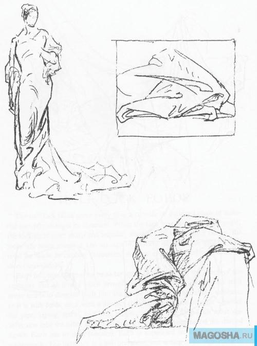 Большое руководство как рисовать складки одежды и тканей с тенями и светом поэтапно