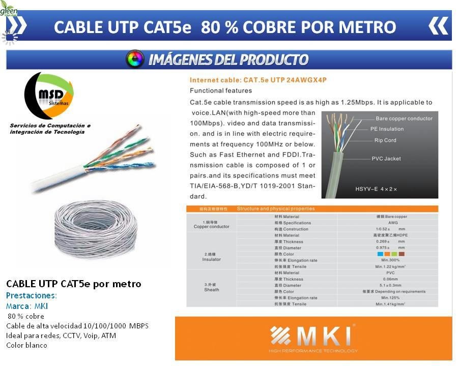 Cable utp por metro cat5e rj45 internet cctv redes lan for Cable para internet precio por metro
