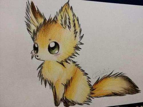 Учимся рисовать аниме лисичку цветными карандашами