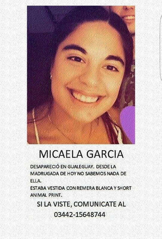 Caso Micaela García: Desaparecida en Gualeguay a la salida de un boliche