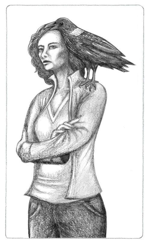 Pencil drawing of Elizabeth Weir with Klovac, her white-necked raven dæmon on her left shoulder. Klovac is saying something as Elizabeth stares off, thoughtfiully, looking serious. All in grayscale as white-necked ravens are black, white and gray.