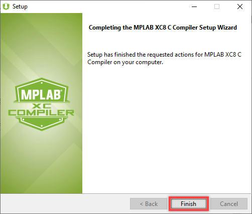 hoàn tất cài đặt mplab xc8 c compiler