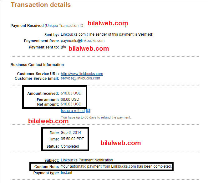 إثبات الدفع من linkbucks