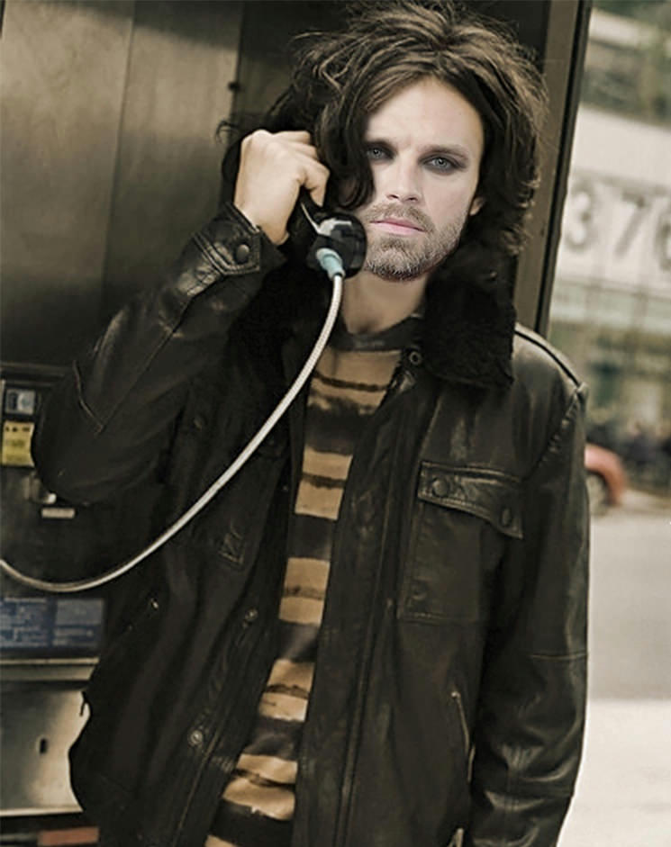 photo manip of Bucky with messy long hair on a landline phone in a bus station, with raccoon eyes, looking haunted